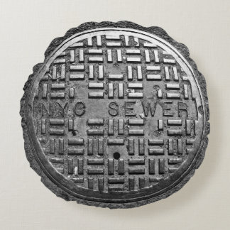NYC Sewer Cover Round Pillow