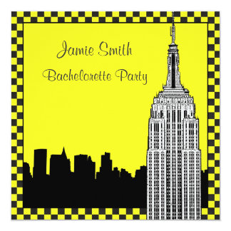 NYC Skyline2 Etched ESB Checkrd Taxi Bachelorette Personalized Invitation
