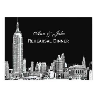 "NYC Skyline 01 Etchd DIY BG Color Rehearsal Dinner 5"" X 7"" Invitation Card"