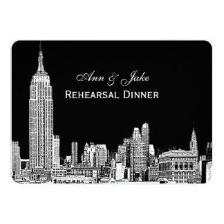 NYC Skyline 01 Etchd DIY BG Color Rehearsal Dinner 5x7 Paper Invitation Card