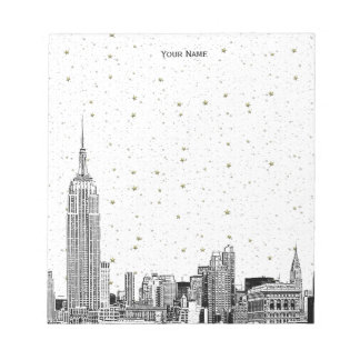 NYC Skyline 01 Etchd DIY BG Color Starry Notepads