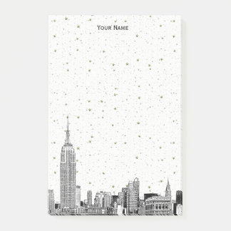 NYC Skyline 01 Etchd DIY BG Color Starry Post-it Notes