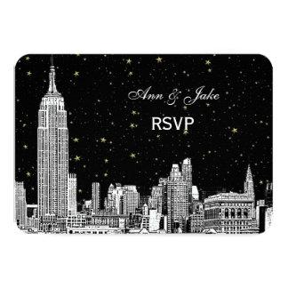 NYC Skyline 01 Etchd Starry DIY BG Color RSVP #2 3.5x5 Paper Invitation Card