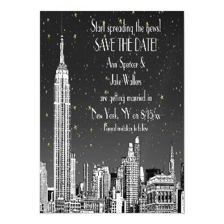 NYC Skyline 01 Etched Black Starry Save the Date Magnetic Invitations
