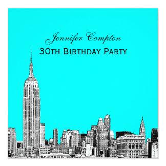 "NYC Skyline 01 Etched DIY BG Color SQ Birthday Pty 5.25"" Square Invitation Card"