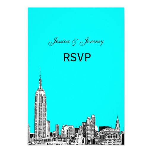 NYC Skyline 01 Etched RSVP #1 Personalized Invitations