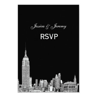 "NYC Skyline 01 Etched RSVP #1 With Menu 3.5"" X 5"" Invitation Card"