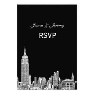 NYC Skyline 01 Etched RSVP #1 With Menu Custom Announcements