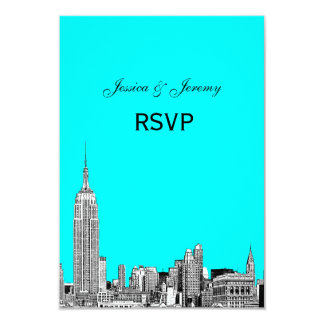 "NYC Skyline 01 Etched RSVP #2 3.5"" X 5"" Invitation Card"