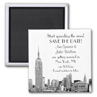 NYC Skyline 01 Etched Save the Date Magnet