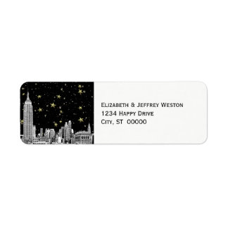 NYC Skyline 01 Etched Starry DIY BG Address Label