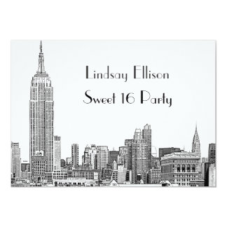 "NYC Skyline 01 Etched Sweet 16 Party 5"" X 7"" Invitation Card"