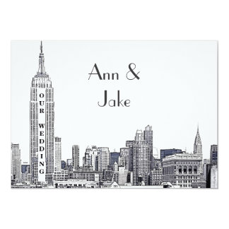 NYC Skyline 01 Etched Wedding Invite