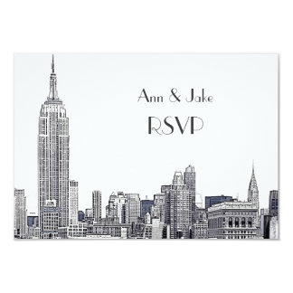 "NYC Skyline 01 Etched White RSVP #2 3.5"" X 5"" Invitation Card"