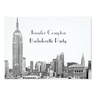 "NYC Skyline 01 Etched Wht Bachelorette Party 5"" X 7"" Invitation Card"