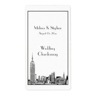 NYC Skyline 01 Etched  Wine Label Shipping Label