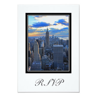 """NYC Skyline as Sunset Approaches RSVP #1 3.5"""" X 5"""" Invitation Card"""
