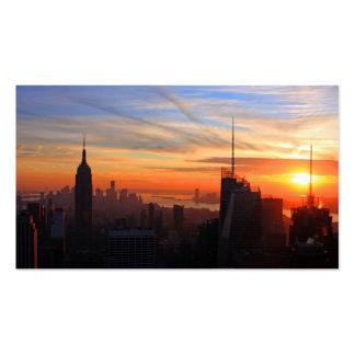 NYC skyline at sunset, Blue, Gold, Orange sky Business Card