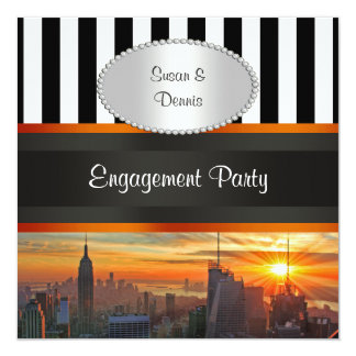 NYC Skyline at Sunset, BW Stripe Engagement Party Personalized Invites