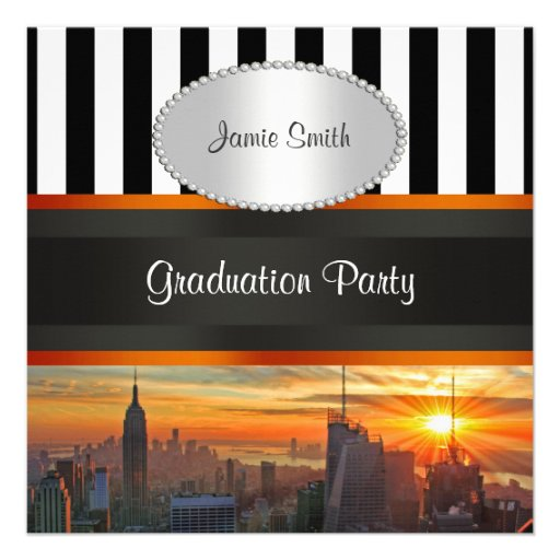 NYC Skyline at Sunset, BW Stripe Graduation Party Custom Announcements
