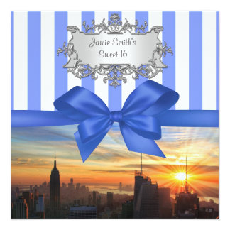 NYC Skyline at Sunset Sweet 16 Party Invitation
