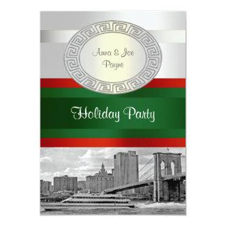 NYC Skyline Bkln Brdg BW White Red Grn K Christmas Personalized Invite