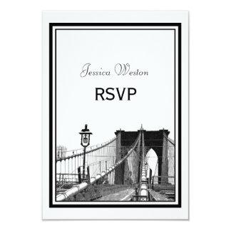 "NYC Skyline Bklyn Bridge #2 Etched RSVP 3.5"" X 5"" Invitation Card"