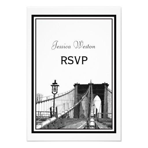NYC Skyline Bklyn Bridge #2 Etched RSVP Custom Announcement