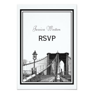 NYC Skyline Bklyn Bridge #2 Etched RSVP 3.5x5 Paper Invitation Card