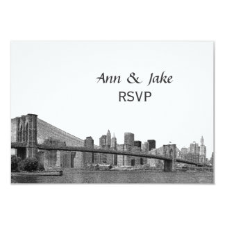 "NYC Skyline Bklyn Bridge Etched #2H RSVP 3.5"" X 5"" Invitation Card"
