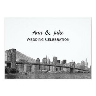 """NYC Skyline Bklyn Bridge Etched #2H Wedding 5"""" X 7"""" Invitation Card"""