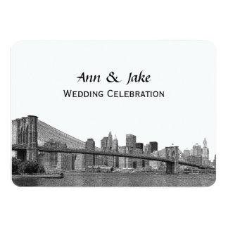 NYC Skyline Bklyn Bridge Etched #2H Wedding 5x7 Paper Invitation Card
