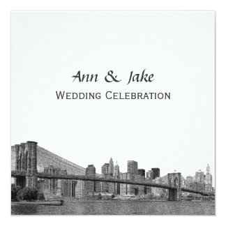 "NYC Skyline Bklyn Bridge Etched #2SQ Wedding 5.25"" Square Invitation Card"