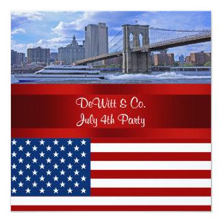 NYC Skyline Bklyn Bridge USA Flag Red W Blue Party Card