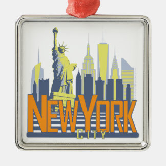 NYC Skyline Bold Silver-Colored Square Ornament