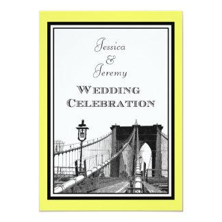 """NYC Skyline Brooklyn Bridge #1 Etched Wedding 5"""" X 7"""" Invitation Card"""