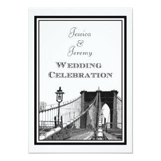 "NYC Skyline Brooklyn Bridge #2 DIY Wedding 5"" X 7"" Invitation Card"