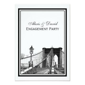 "NYC Skyline Brooklyn Bridge #2 Engagement 5"" X 7"" Invitation Card"