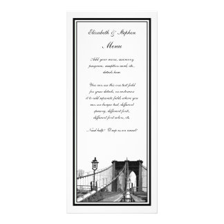 NYC Skyline Brooklyn Bridge #2 Etched Framed Personalized Rack Card
