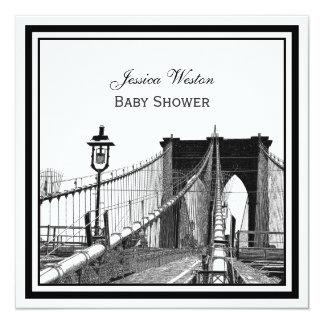 NYC Skyline Brooklyn Bridge #2 SQ Baby Shower Card