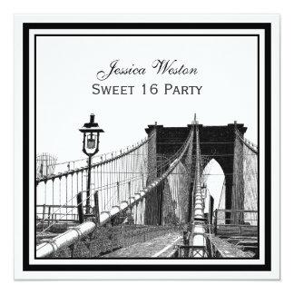 "NYC Skyline Brooklyn Bridge #2 SQ Sweet 16 Party 5.25"" Square Invitation Card"