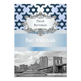 NYC Skyline Brooklyn Bridge Bar Mitzvah #2 Card