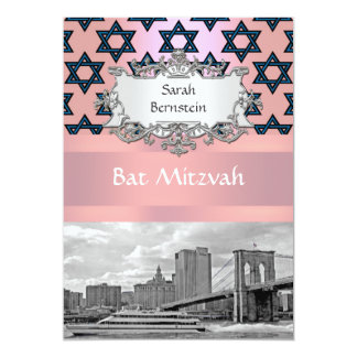 NYC Skyline Brooklyn Bridge Bat Mitzvah #2 Custom Invite