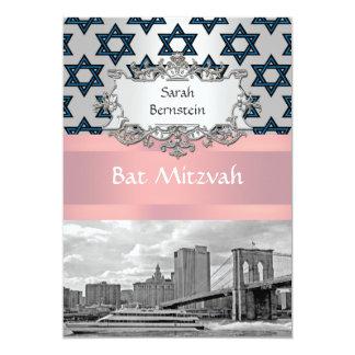 "NYC Skyline Brooklyn Bridge Bat Mitzvah #3 5"" X 7"" Invitation Card"
