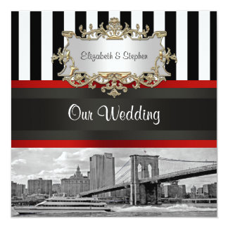 "NYC Skyline Brooklyn Bridge Blk White Wedding 5.25"" Square Invitation Card"
