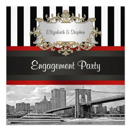 NYC Skyline Brooklyn Bridge Blk Wht Engagement Invitation