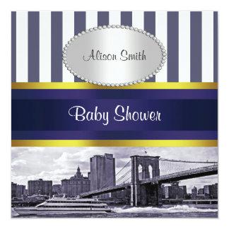 NYC Skyline Brooklyn Bridge Blue White Baby Shower Card
