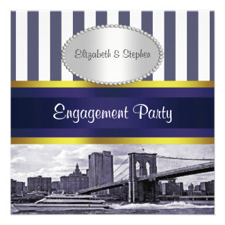NYC Skyline Brooklyn Bridge Blue White Engagement Personalized Invitation
