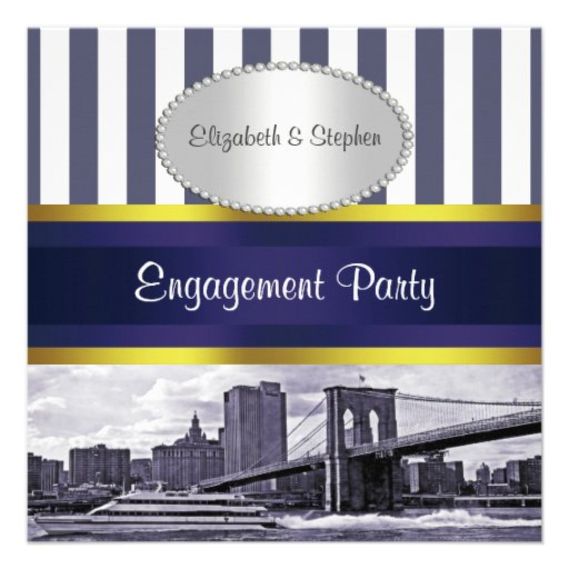 NYC Skyline Brooklyn Bridge Blue White Engagement Personalized Invitation