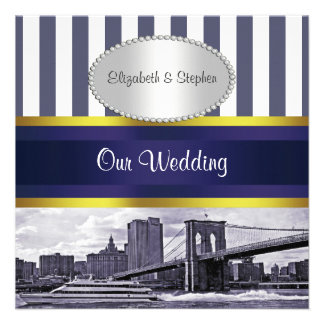 NYC Skyline Brooklyn Bridge Blue White Wedding Personalized Invitations